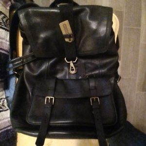 Authentic full leather coach backpack